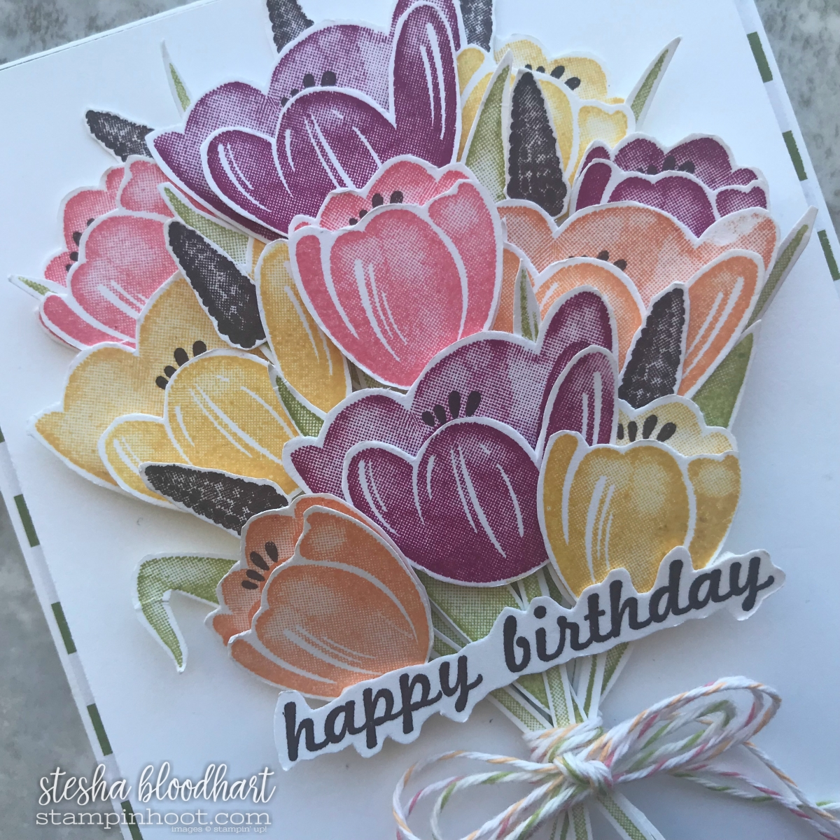Tranquil Tulips Happy Birthday Card for TGIFC151 Inspiration Challenge Card Created by Stesha Bloodhart, Stampin' Hoot! #steshabloodhart #stampinhoot