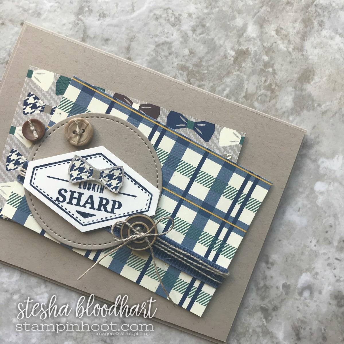 True Gentleman Suite of Products by Stampin' Up! Truly Tailored Bundle, True Gentleman Designer Series Paper. Card created by Stesha Bloodhart, Stampin' Hoot for the Global Design Project Sketch Challenge #gdp130 #steshabloodhart #stampinhoot
