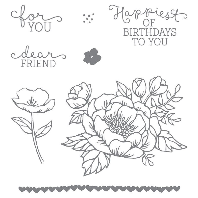 Birthday Blooms Stamp Set by Stampin' Up! Clear Mount or Wood Mount