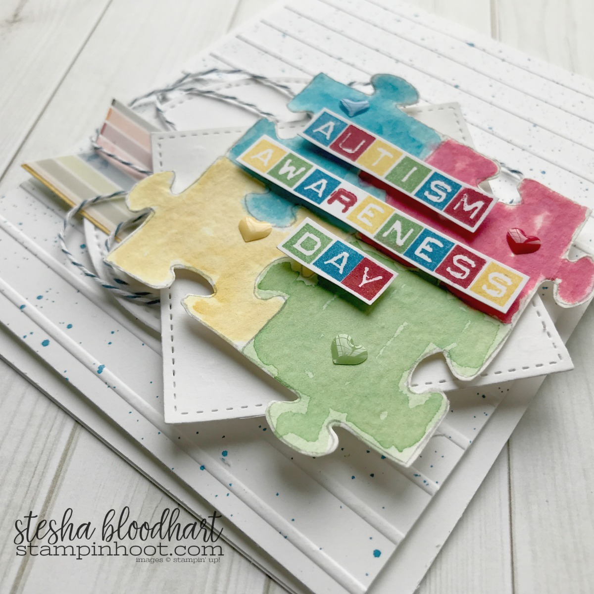 World Autism Awareness Day Blog Hop! Labeler Alphabet by Stampin' Up! helps to easily customize sentiments #stampinhoot #steshabloodhart
