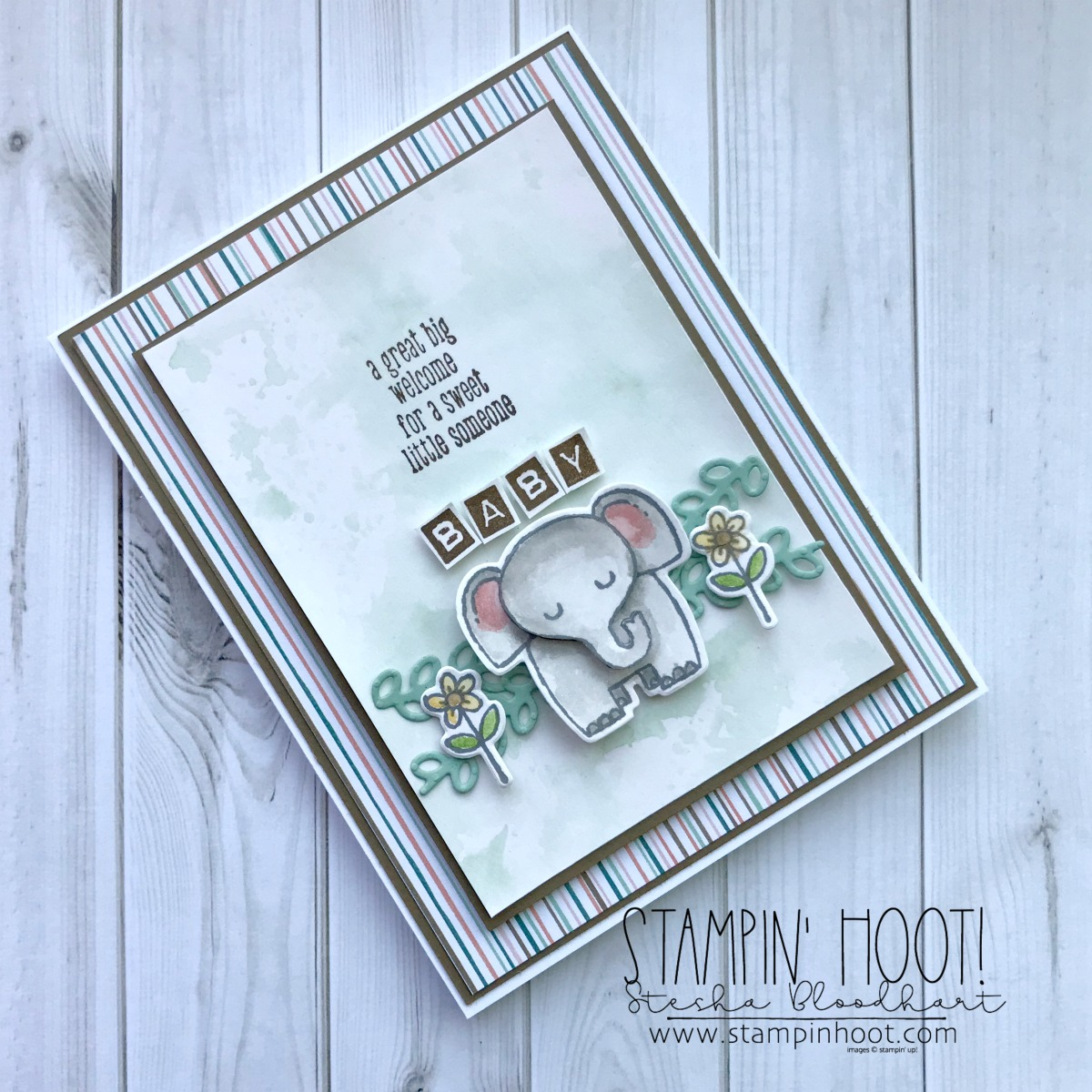 A Little Wild Bundle by Stampin' Up! Elephant Baby Shower Card created by Stesha Bloodhart, Stampin' Hoot! #steshabloodhart #stampinhoot