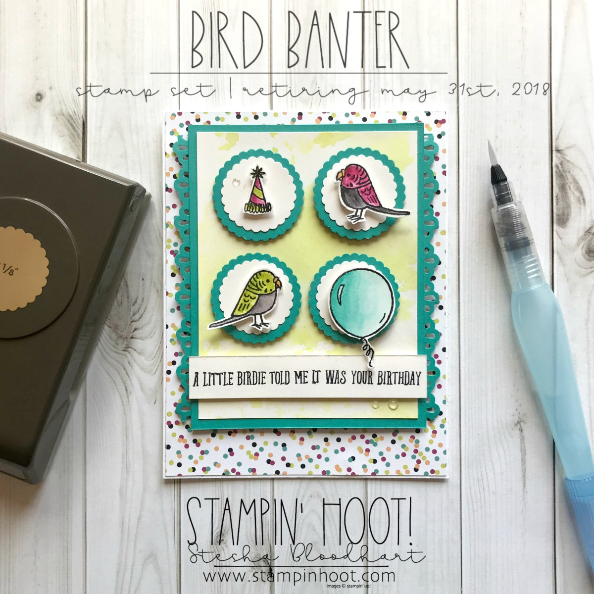 Bird Banter Birthday Card for the #GDP136 Case the Designer Challenge. Birthday Card created by Stesha Bloodhart, Stampin' Hoot! #steshabloodhart #stampinhoot #gdp136