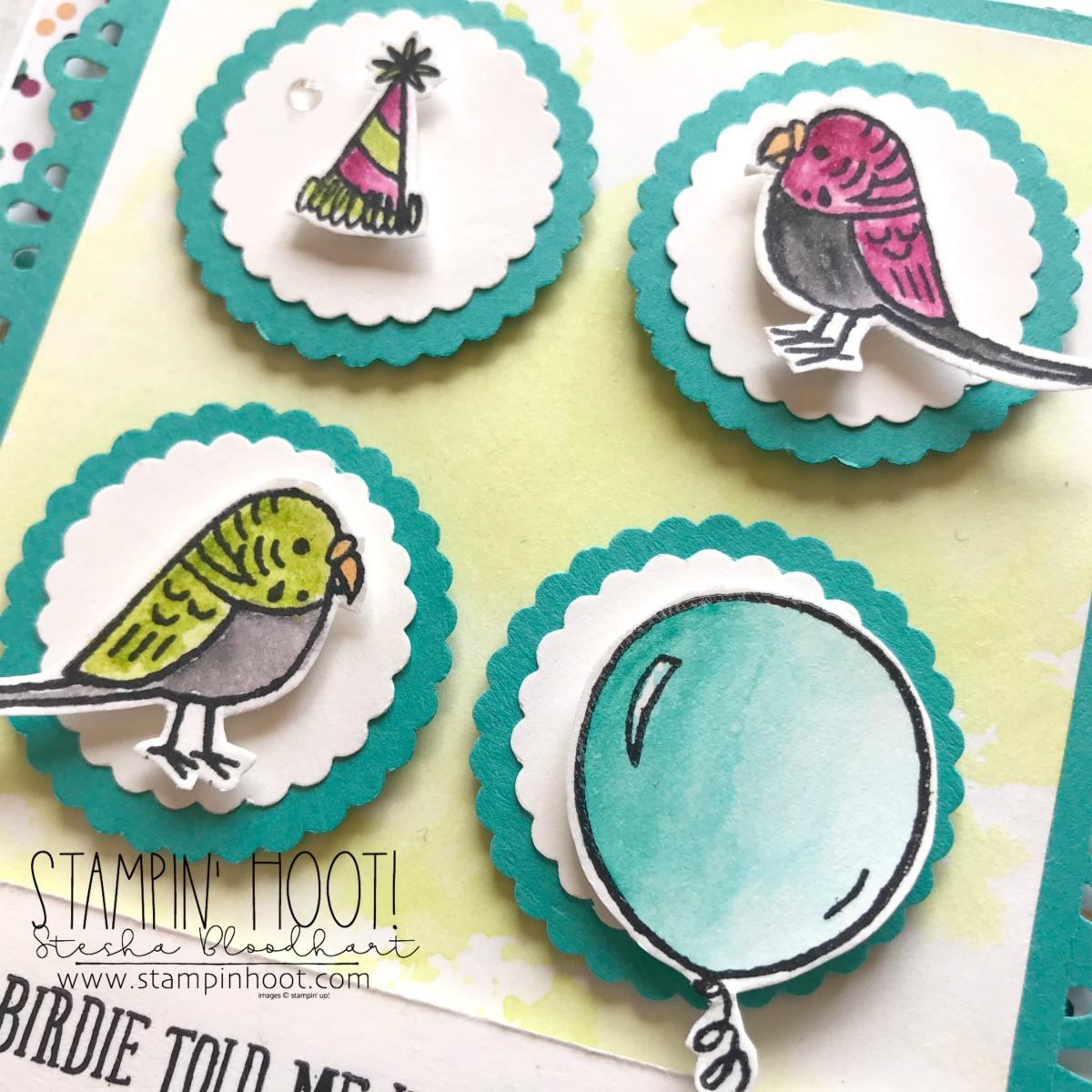 Bird Banter Birthday Card for the #GDP136 Case the Designer Challenge. Birthday Card created by Stesha Bloodhart, Stampin' Hoot! #steshabloodhart #stampinhoot #gdp136