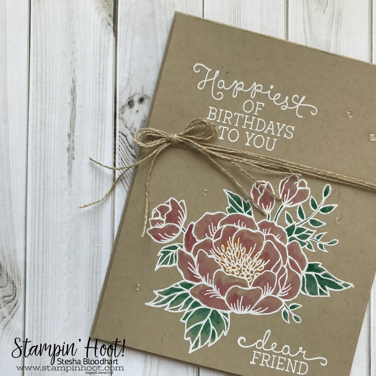 Birthday Blooms Stamp Set by Stampin' Up! Retiring May 31st 2018. Retiring In Colors. Birthday Card Created by Stesha Bloodhart, Stampin' Hoot! #steshabloodhart #stampinhoot