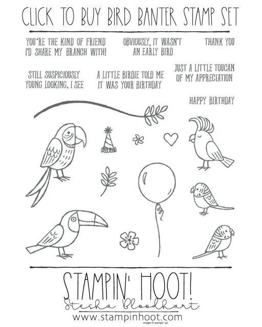 Click to Buy the Bird Banter Stamp Set - Retiring May 31, 2018. Buy Online from Stampin' Hoot! Stesha Bloodhart #steshabloodhart #stampinhoot