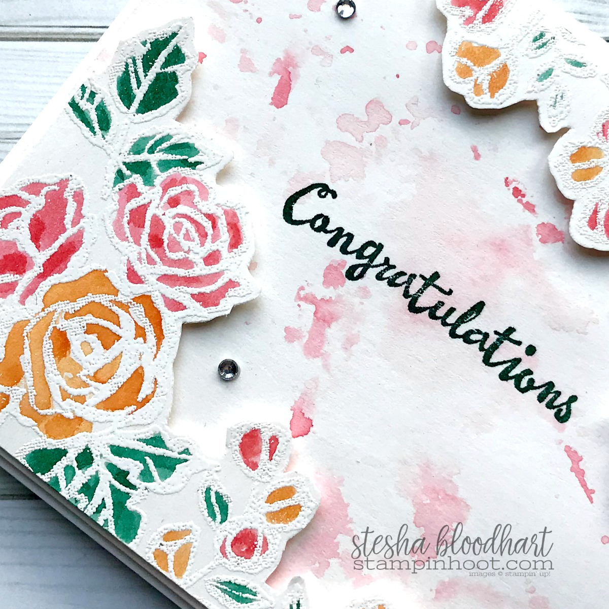 Petal Palette Wedding Card created by Stesha Bloodhart, Stampin' Hoot! for #GDP132 Case the Designer Challenge #GDP132 #steshabloodhart #stampinhoot