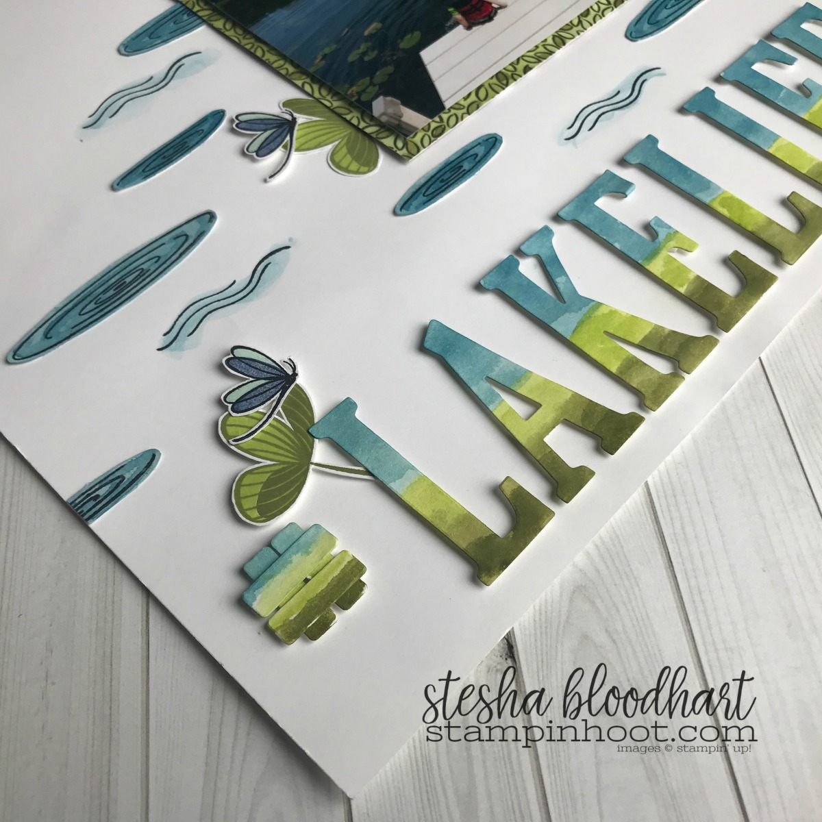 Peaceful Reflection Stamp Set by Stampin' Up! Sneak Peek 2018-2019 Annual Catalog #lakelife scrapbook page by Stesha Bloodhart for #onstage2018 Milwaukee Display Board #steshabloodhart #stampinhoot #stampinup30