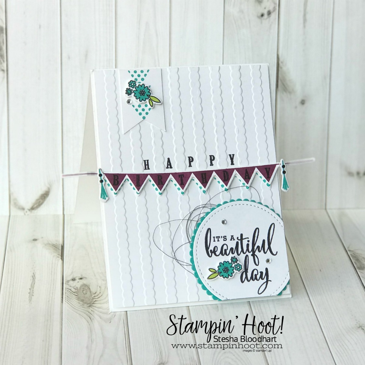 Pick a Pennant Bundle and Love What You Do Stamp Set by Stampin' Up! Happy Birthday Card created by Stesha Bloodhart, Stampin' Hoot! for #OnStage2018 Milwaukee Display Board Samples #stampinhoot #steshabloodhart