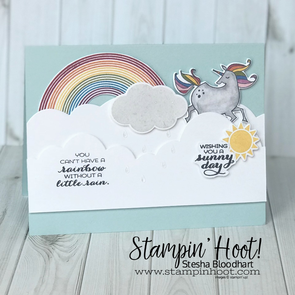 Sunshine & Rainbows Bundle by Stampin' Up! from the 2018 Occasions Catalog. Retiring May 31st, 2018. Card Created by Stesha Bloodhart, Stampin' Hoot! #steshabloodhart #stampinhoot