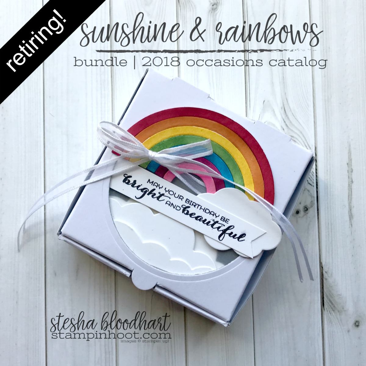 Sunshine & Rainbows Bundle by Stampin' Up! from the 2018 Occasions Catalog. Retiring May 31st, 2018. Pizza Box Created by Stesha Bloodhart, Stampin' Hoot! #steshabloodhart #stampinhoot