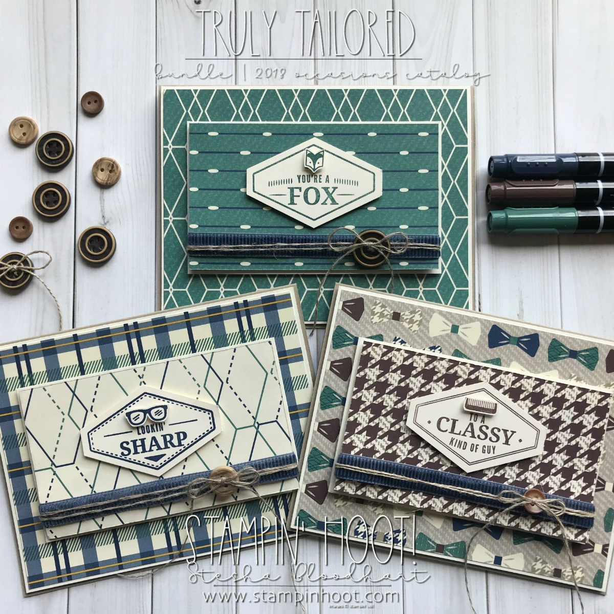 True Gentleman Suite of Product by Stampin' Up! for Masculine Cards Perfect for Birthday's and Father's Day! Created by Stesha Bloodhart, Stampin' Hoot! #steshabloodhart #stampinhoot