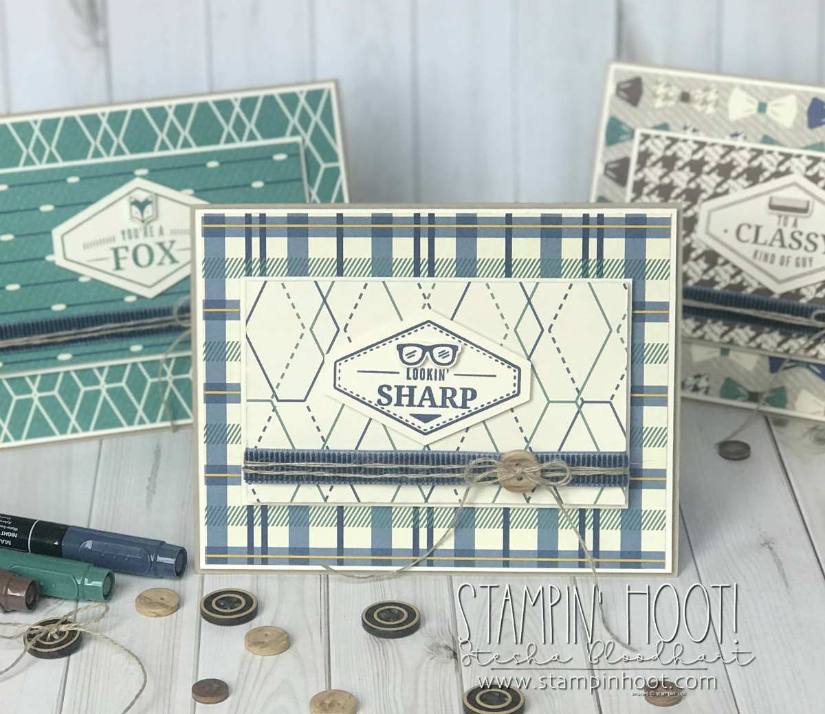 Truly Tailored Bundle by Stampin' Up! From the 2018 Occasions Catalog Masculine Card Trio by Stesha Bloodhart, Stampin' Hoot! #steshabloodhart #stampinhoot