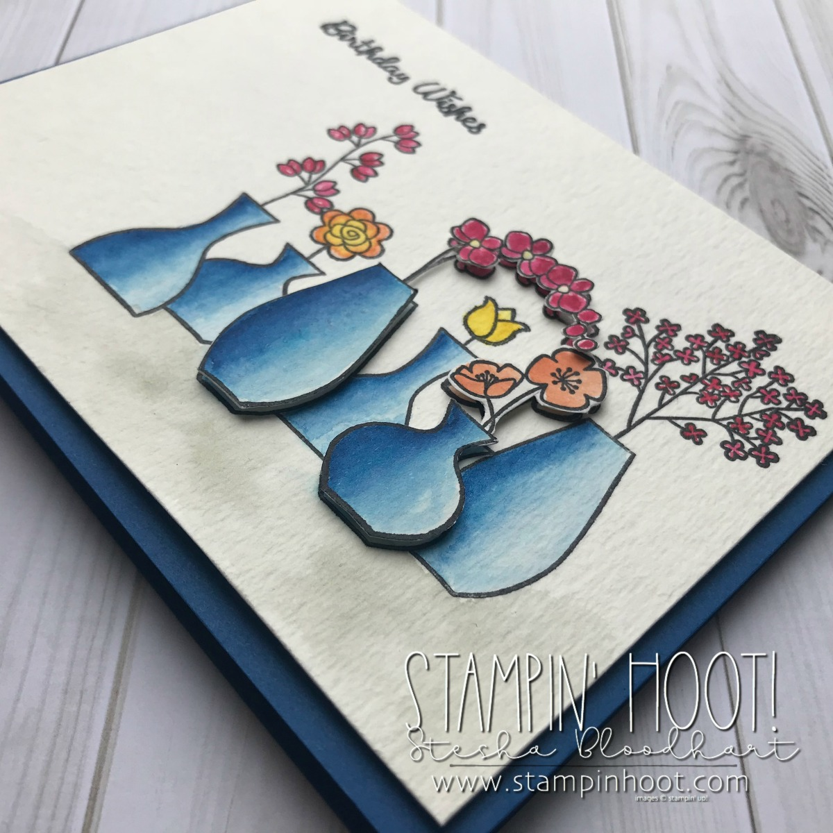 Varied Vases Bundle by Stampin' Up! for Mary Fish Million Dollar Stamp Set. Card created by Stesha Bloodhart, Stampin' Hoot! for the May 2018 Pals Blog Hop #stampinhoot #steshabloodhart