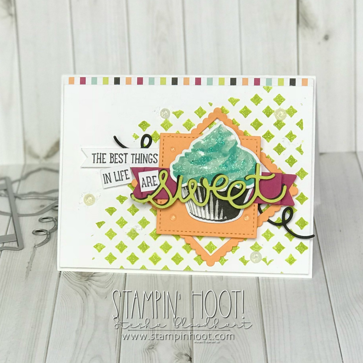 Sweet Cupcake Photopolymer Stamp Set and Coordinating Cupcake Cutouts Framelits Dies by Stampin' Up! Retiring May 31, 2018. Card created by Stesha Bloodhart for the Stamp Review Crew Blog Hop #steshabloodhart #stampinup