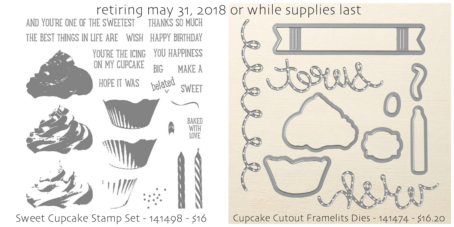 Sweet Cupcake Stamp Set and Cupcake Cutouts Framelits Dies by Stampin' Up! Shop with Stesha Bloodhart, Stampin' Hoot!