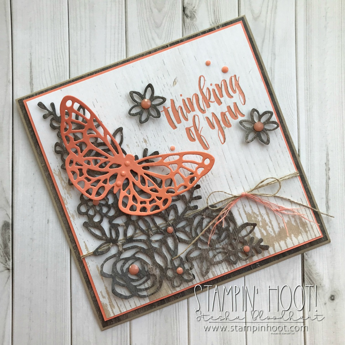 #tgifc160 Thinking of You Card with Wood Texture DSP & Springtime Impressions Thinlits Dies #steshabloodhart #stampinhoot