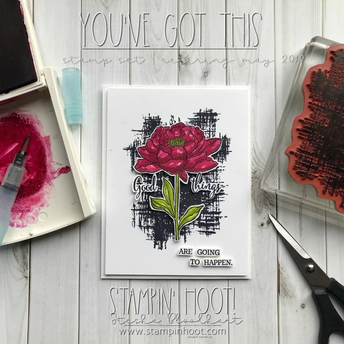 You've Got This Stamp Set by Stampin' Up! Available Until May 31st, 2018 or While Supplies Last. Card Created by Stesha Bloodhart, Stampin' Hoot for the #tgifc138 Color Challenge. #steshabloodhart #stampinhoot