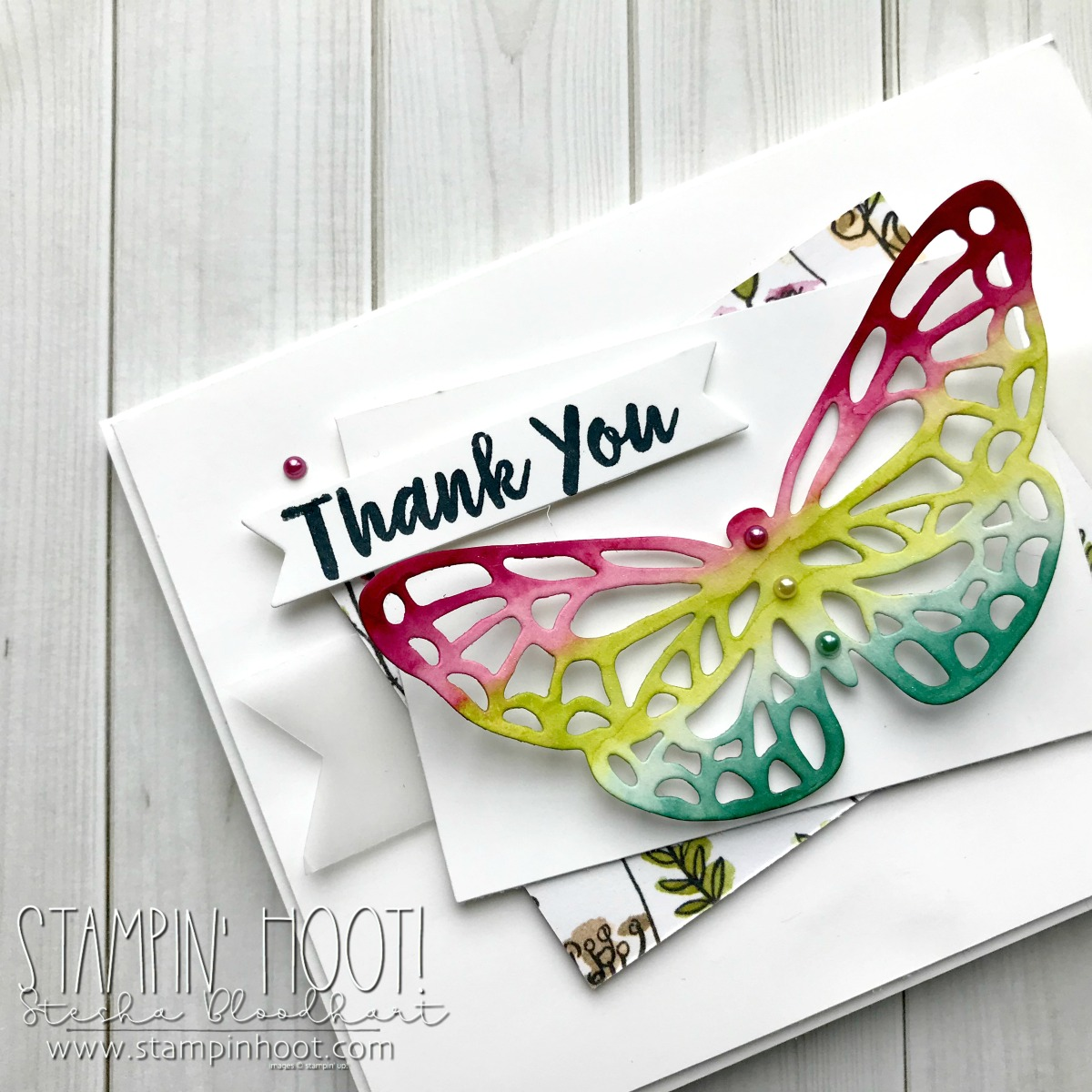 Abstract Impressions Bundle Butterfly Die Cut from the 2018-2019 Annual Stampin' Up! Catalog. Handmade Thank you card by Stesha Bloodhart, Stampin' Hoot! for #tgifc163 Sketch Challenge. #steshabloodhart #stampinhoot