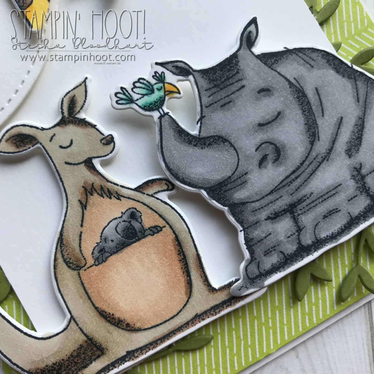 Wild About You Card using Animal Outing Bundle by Stampin' Up! From the Animal Expedition Suite of Products. Handmade Card Colored with Stampin' Blends by Stesha Bloodhart, Stampin' Hoot! #steshabloodhart #stampinhoot