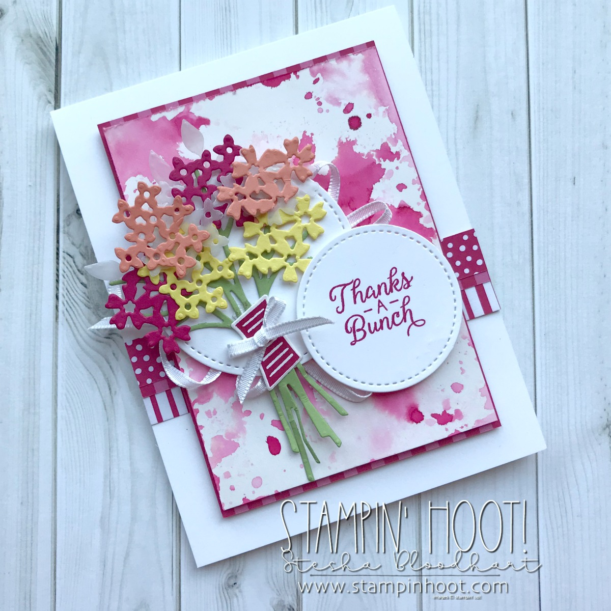 Beautiful Bouquet Photopolymer Stamp Set and Coordinating Bouquet Bunch Framelits Dies by Stampin' Up! for the Stamp Review Crew Blog Hop. Thank you Card by Stesha Bloodhart, Stampin' Hoot! #steshabloodhart #stampinhoot