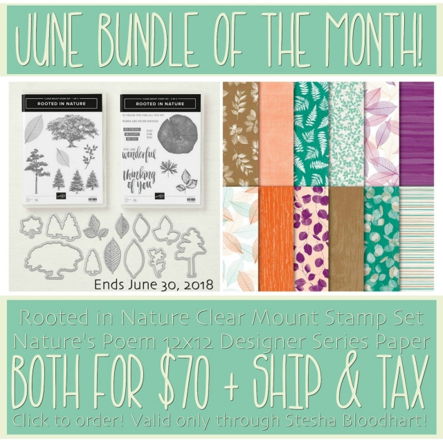 June Bundle of the Month - Rooted in Nature by Stampin' Up! Special with Stesha Bloodhart, Stampin' Hoot! #steshabloodhart #stampinhoot