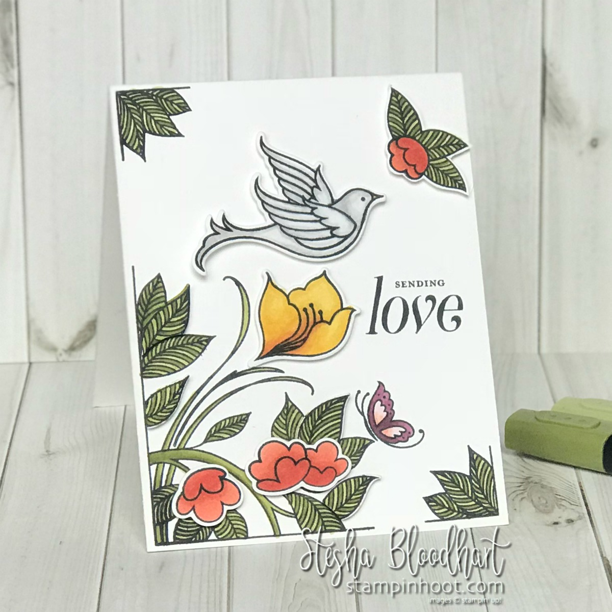 Serene Garden Bundle by Stampin' Up! Handmade Sympathy Card by Stesha Bloodhart, Stampin' Hoot! #steshabloodhart #stampinhoot