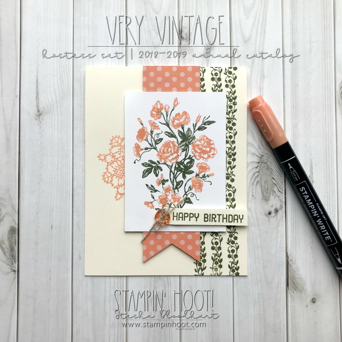 Very Vintage Hostess Stamp Set by Stampin' Up! for the #gdp144 Case the Designer Challenge. Handmade Birthday Card by Stesha Bloodhart, Stampin' Hoot! #steshabloodhart #stampinhoot