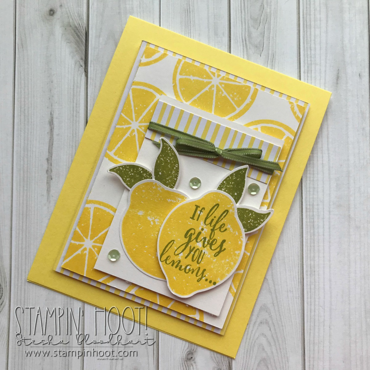 Lemon Zest Stamp Set & Lemon Builder Punch by Stampin' Up! for #tgifc165 inspiration challenge. Card by Stesha Bloodhart, Stampin' Hoot! #steshabloodhart #stampinhoot