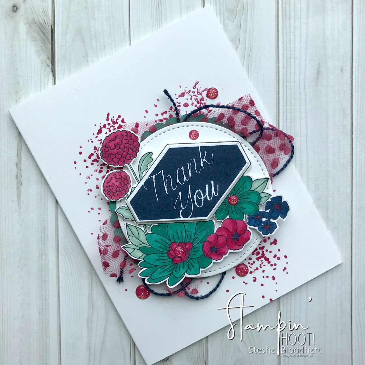 Accented Blooms Thank You Card for GDP149 Color Challenge. Created by Stesha Bloodhart, Stampin' Hoot! #steshabloodhart #stampinhoot #gdp149