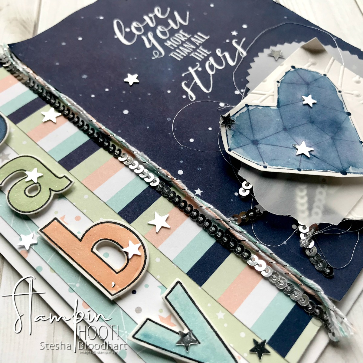 Twinkle Twinkle Designer Series Paper and Little Twinkle Stamp Set by Stampin' Up! for the Pals Blog Hop. Card created by Stesha Bloodhart, Stampin' Hoot! #steshabloodhart #stampinhoot
