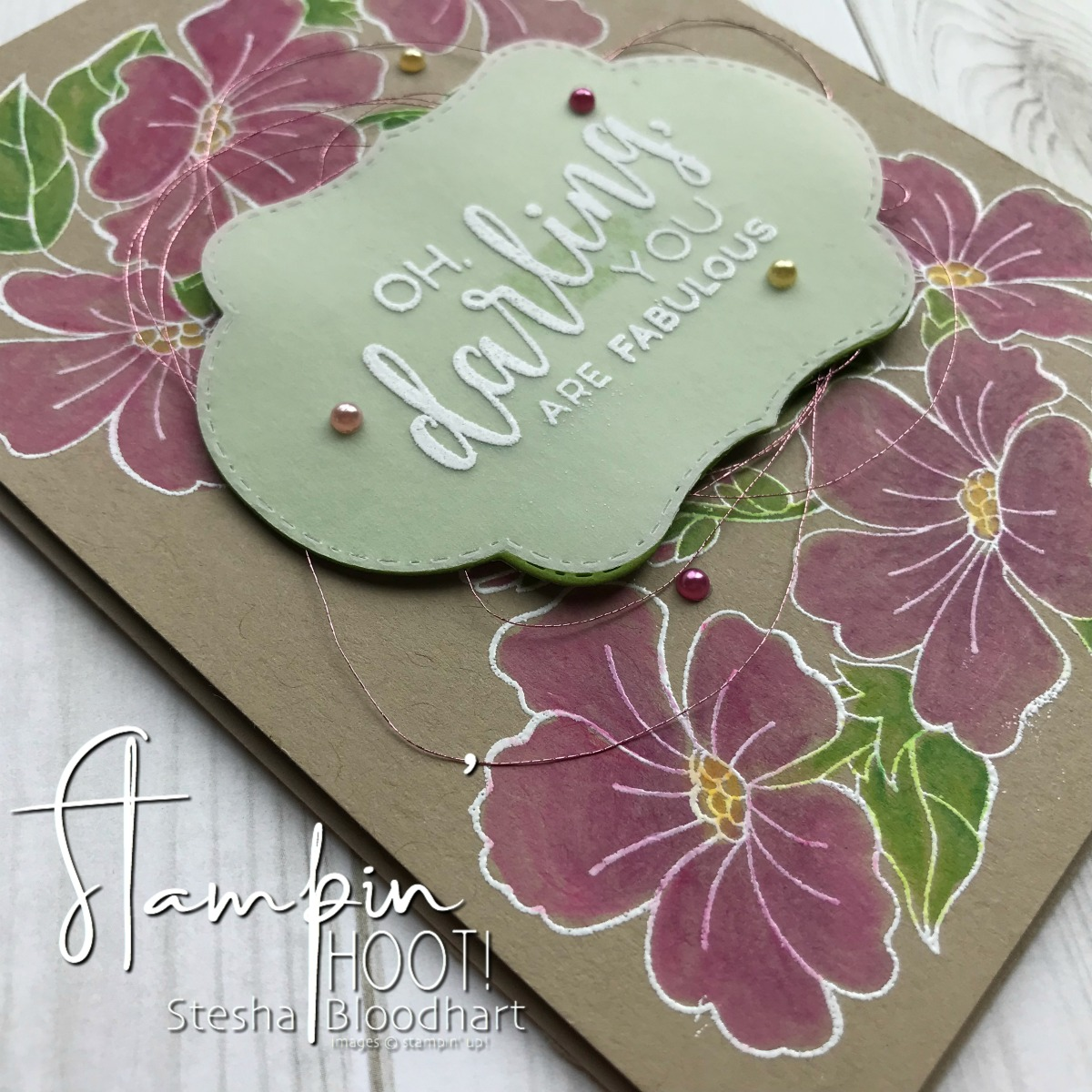 Blended Seasons Bundle by Stampin' Up! Heat Embossed Card created by Stesha Bloodhart, Stampin' Hoot! #tgifc169 #steshabloodhart #stampinhoot