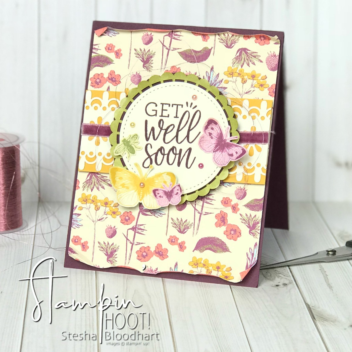 Healing Hugs Stamp Set and Tea Room Specialty Designer Series Paper by Stampin' Up! for #gdp148 Case the Designer. Card created by Stesha Bloodhart, Stampin' Hoot! #steshabloodhart #stampinhoot