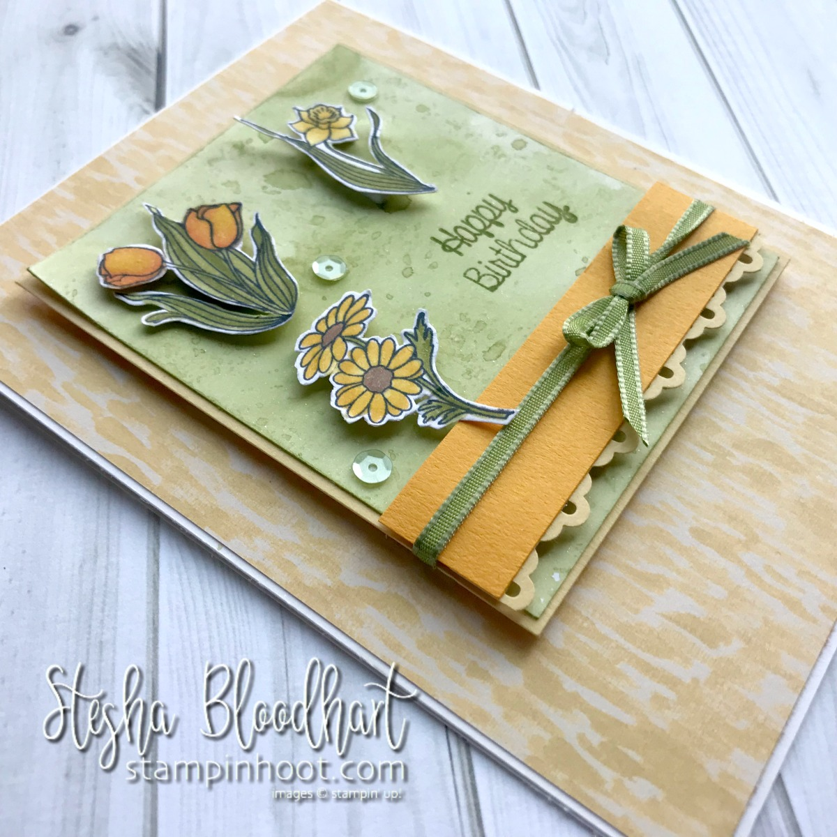 In Every Season Stamp Set by Stampin' Up! Handmade Birthday Card by Stesha Bloodhart, Stampin' Hoot! for the #gdp146 Sketch Challenge #steshabloodhart #stampinhoot