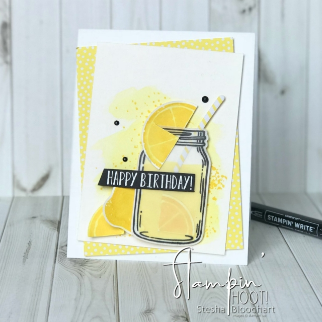 Lemon Zest Stamp Set, Jar of Love Stamp Set, Lemon Builder Punch, Everday Jars Framelits Dies by Stampin' Up! for a Birthday Card by Stesha Bloodhart, Stampin' Hoot!