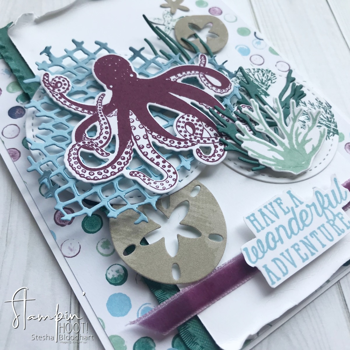 Sea of Textures Bundle by Stampin' Up! for the #tgifc168 Sketch Challenge Created by Stesha Bloodhart, Stampin' Hoot! #steshabloodhart #stampinhoot