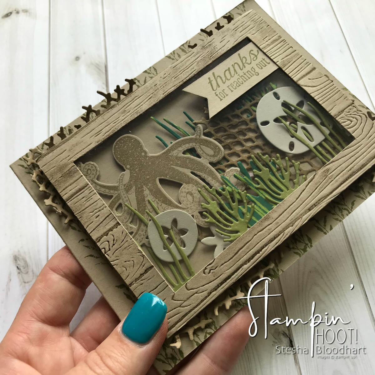 Sea of Textures Bundle by Stampin' Up! for the Stamp Review Crew Design Team Blog Hop. Thank You Card Created by Stesha Bloodhart, Stampin' Hoot! #steshabloodhart #stampinhoot