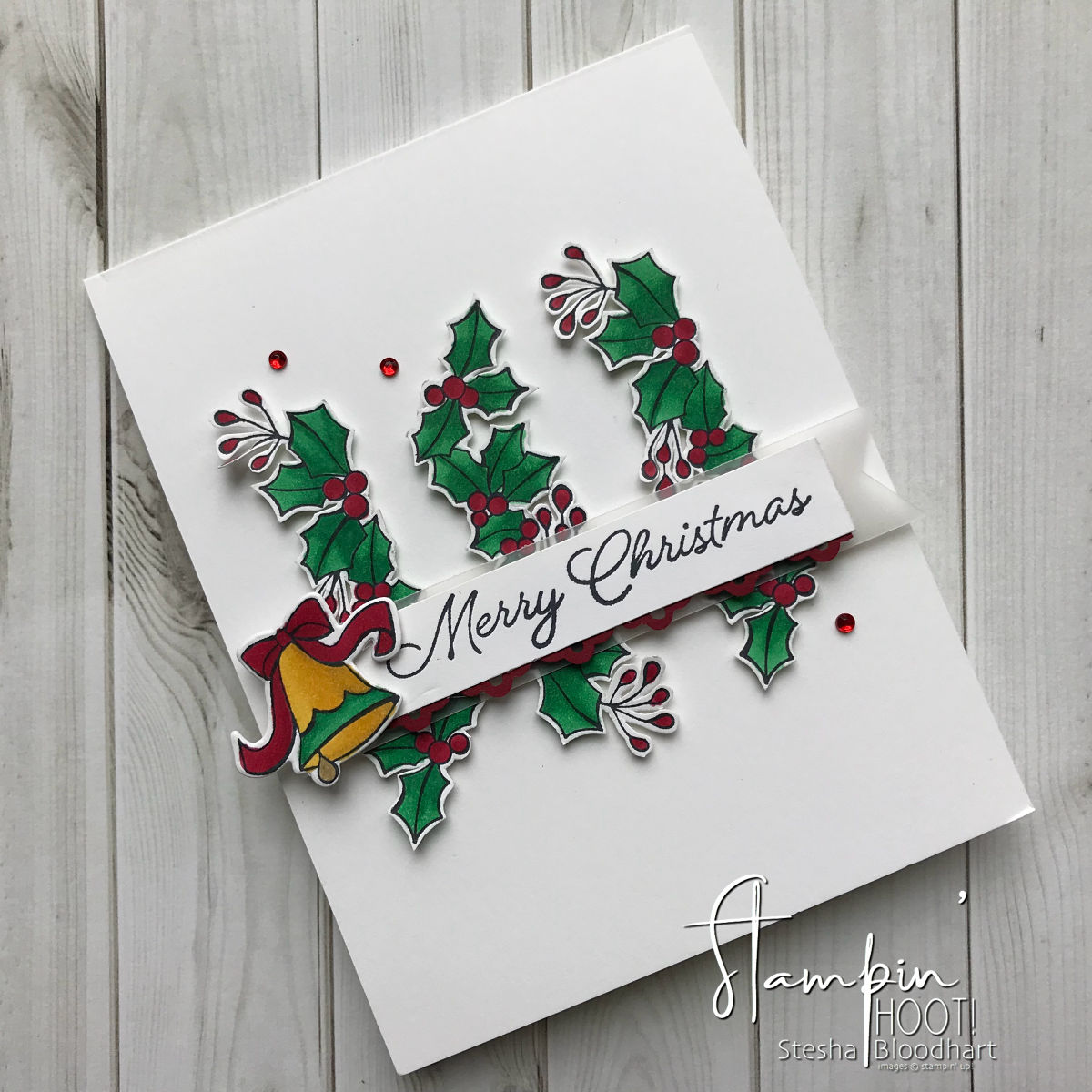 Blended Seasons by Stampin' Up! Handmade Christmas Card by Stesha Bloodhart, Stampin' Hoot! for #GDP150 Sketch Challenge #steshabloodhart #stampinhoot