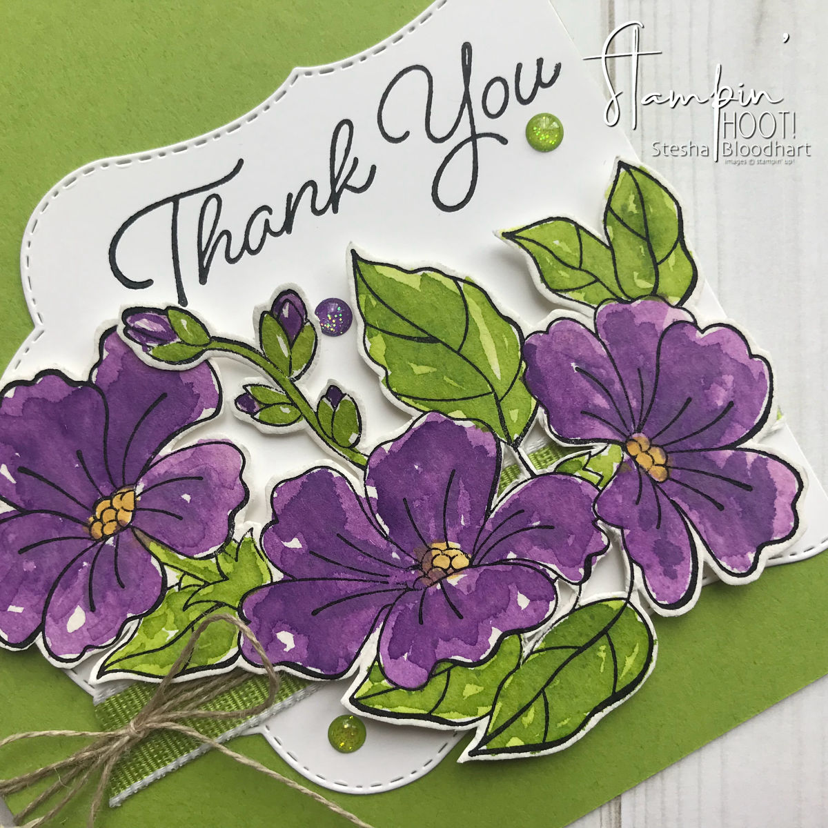 Blended Seasons Bundle By Stampin' Up! Gorgeous Grape Thank You Card Watercolor by Stesha Bloodhart, Stampin' Hoot! #steshabloodhart #stampinhoot