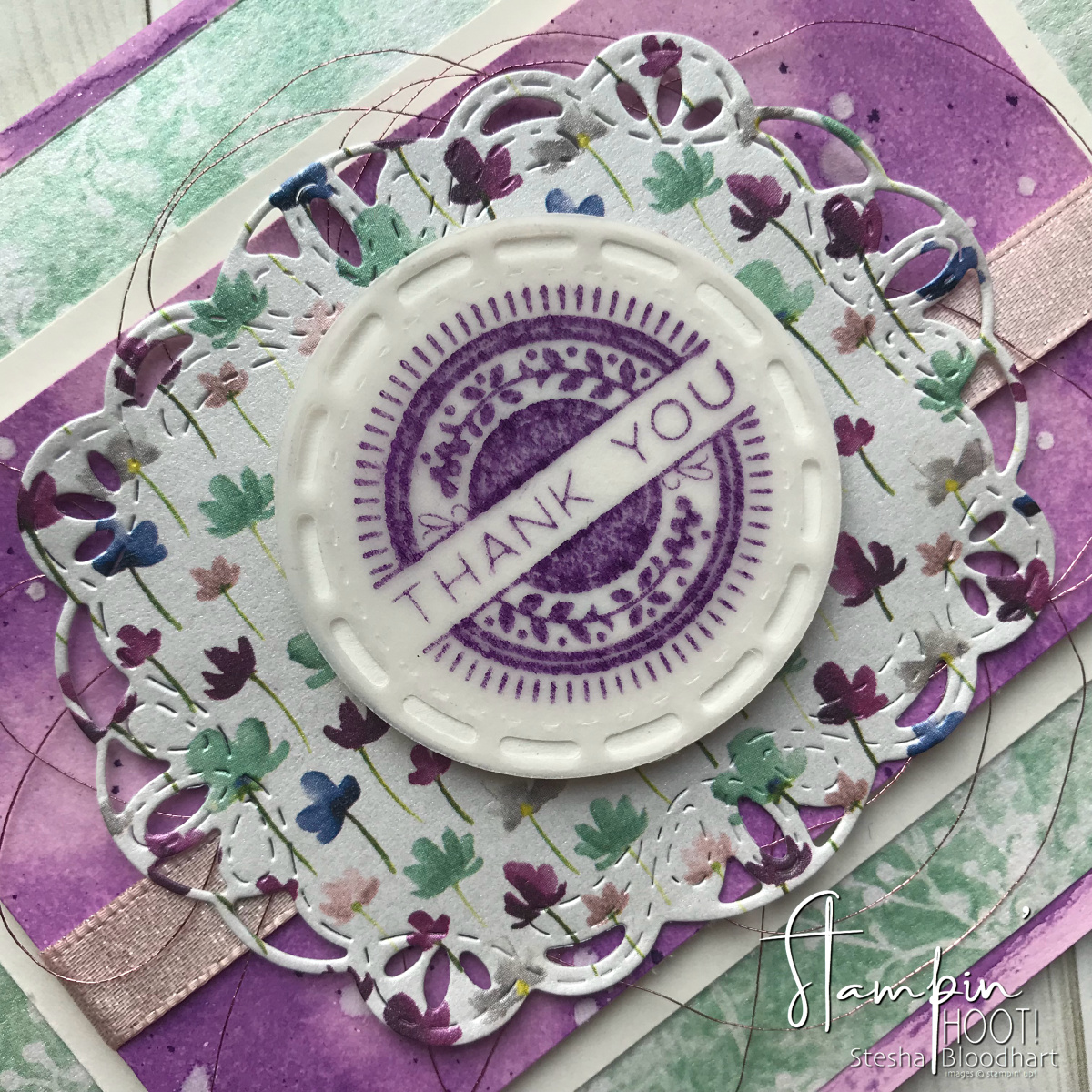 Stitched All Around Bundle by Stampin' Up! Handmade Thank You Card created by Stesha Bloodhart, Stampin' Hoot! for #gdp152 #steshabloodhart #stampinhoot