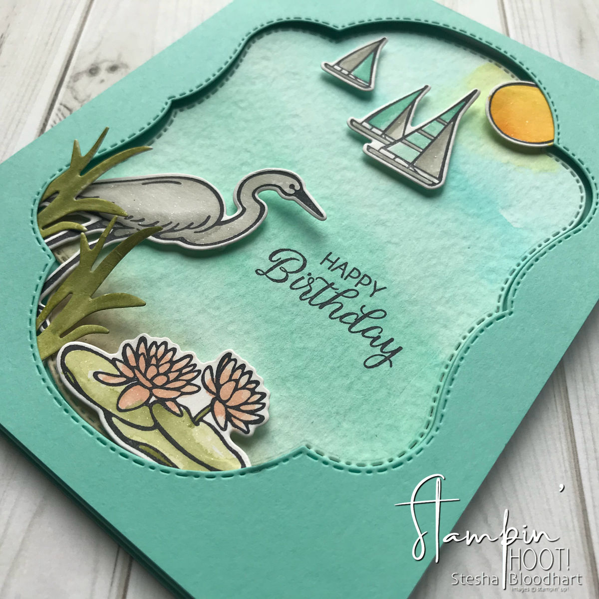Lilypad Lake Bundle by Stampin' Up! Handmade Birthday Card created by Stesha Bloodhart, Stampin' Hoot! for Pals Blog Hop August 2018 #steshabloodhart #stampinhoot