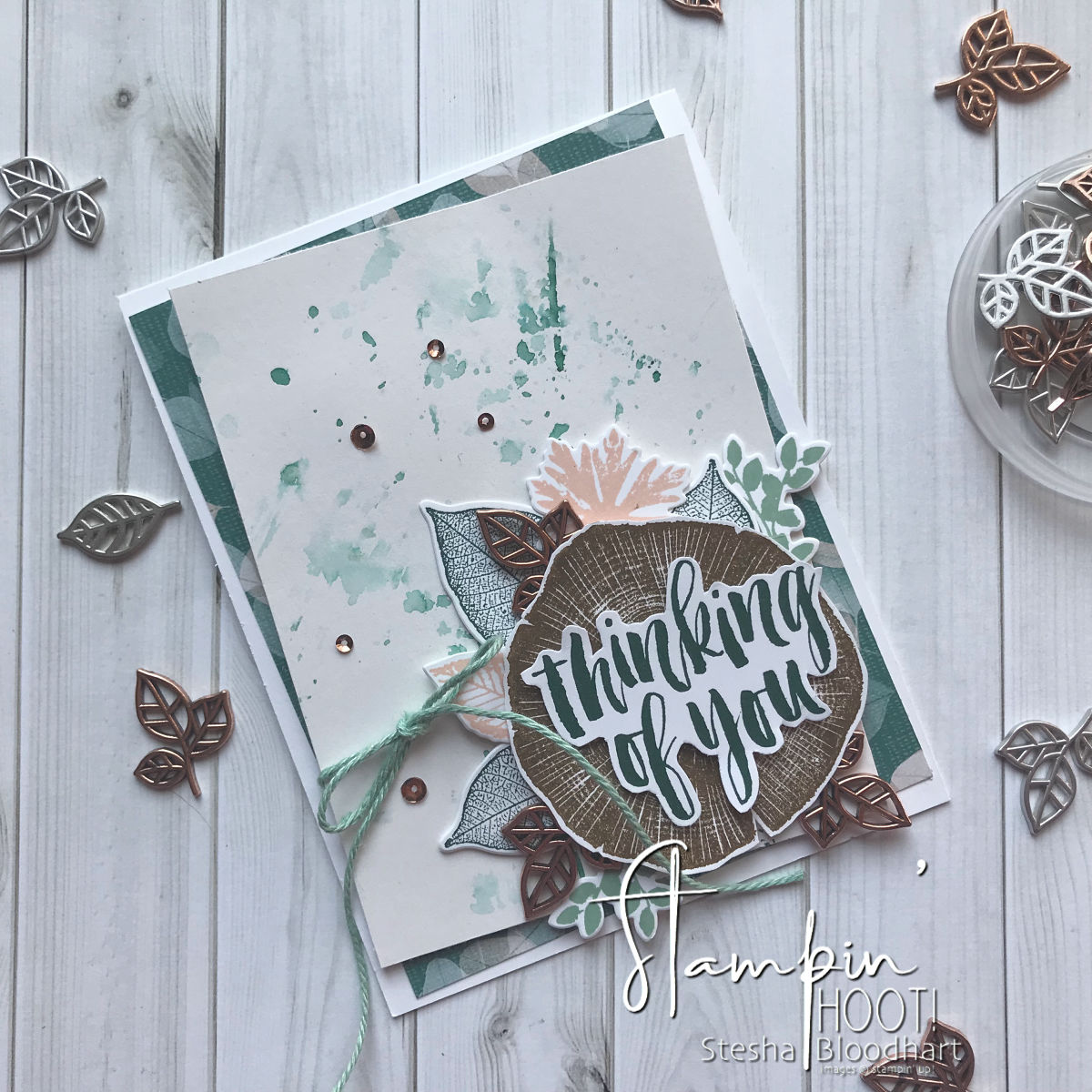 Rooted in Nature Bundle by Stampin' Up! Thinking of You Card Created by Stesha Bloodhart for the Stamp Review Crew Hop #stampinhoot #steshabloodhart