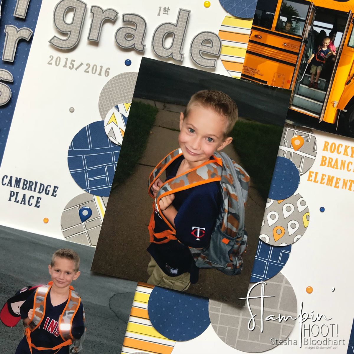Scrapbooking Global August 2018 Blog Hop Memories & More : School Days Layout by Stesha Bloodhart Stampin' Hoot! #steshabloodhart #stampinhoot