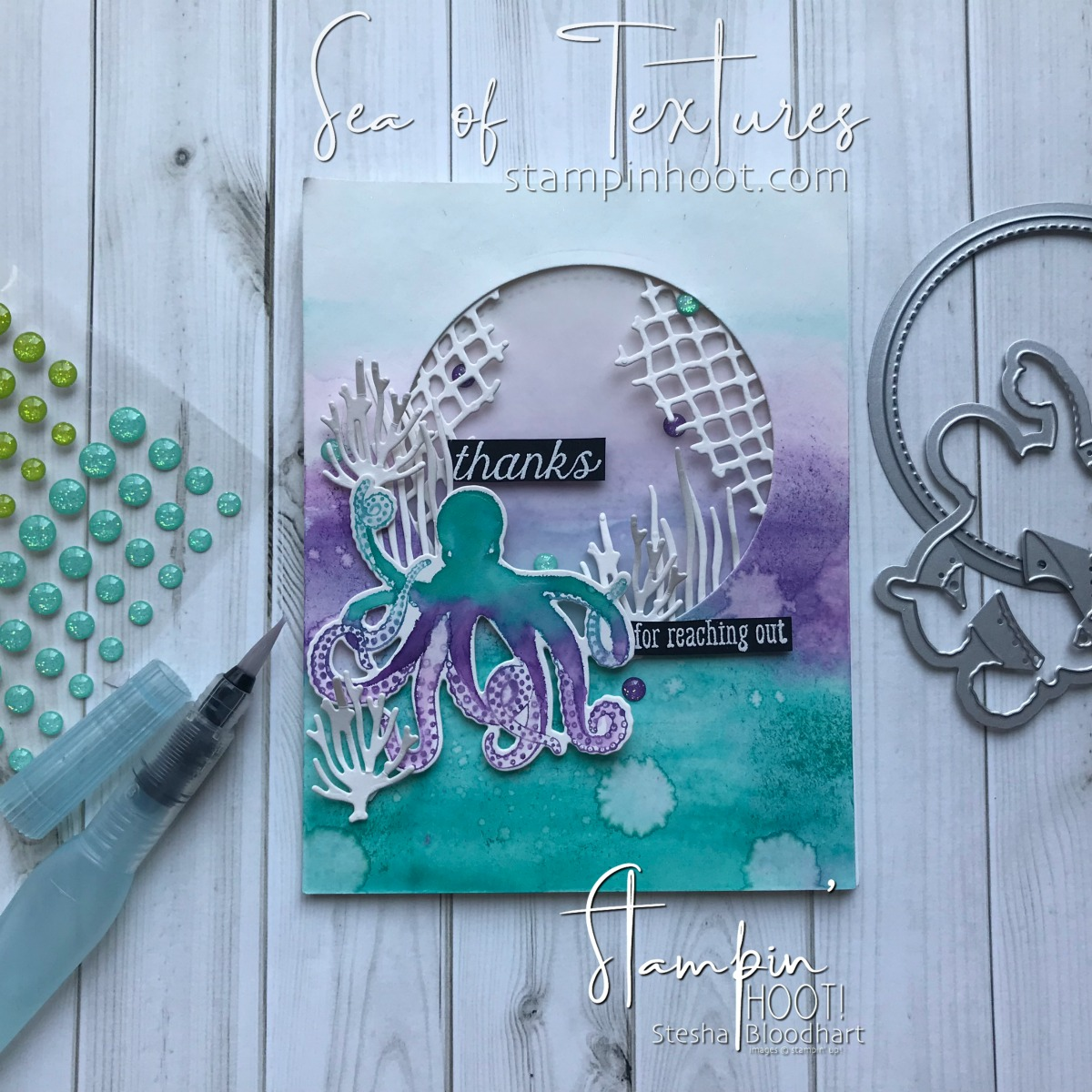 Sea of Textures Thank You Card for #gdp151 Theme Challenge. Handmade Card by Stesha Bloodhart, Stampin' Hoot! #steshabloodhart #stampinhoot