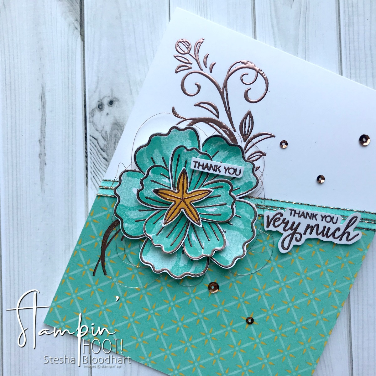 TGIFC172 Sketch Challenge. Bunch of Blossoms Stamp Set and Blossom Builder Punch Thank You Card by Stesha Bloodhart, Stampin' Hoot! #steshabloodhart #stampinhoot