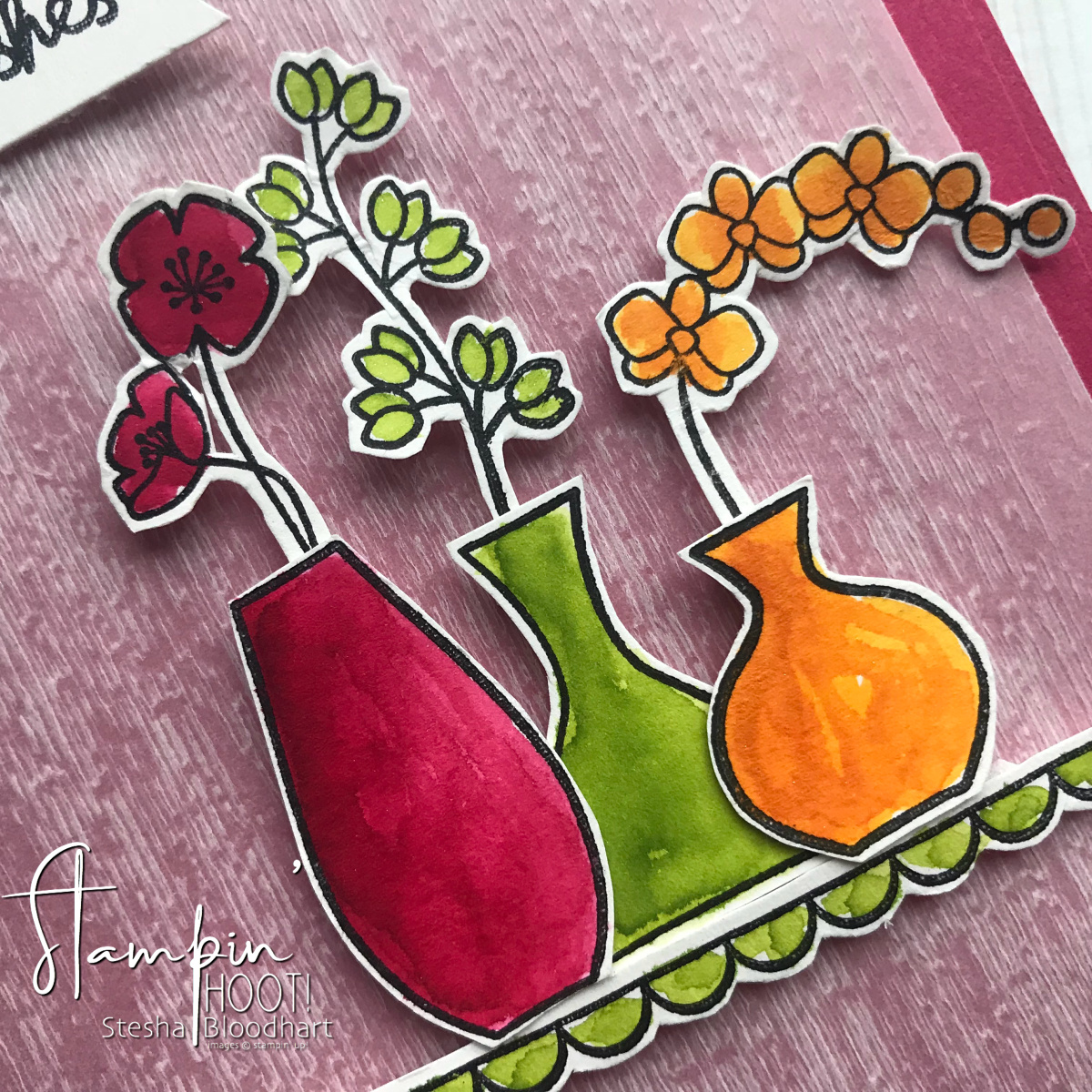 Varied Vases Bundle by Stampin' Up! Mary Fish Million Dollar Stamp Set Birthday Card by Stesha Bloodhart, Stampin' Hoot! #STESHABLOODHART #STAMPINHOOT Stamp Review Crew