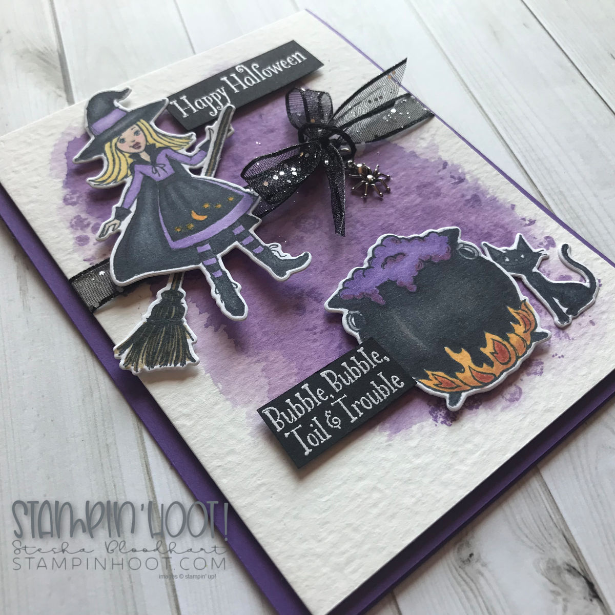 Couldron Bubble Bundle by Stampin' Up! from the 2018 Holiday Catalog. Handmade Halloween Card by Stesha Bloodhart, Stampin' Hoot! #steshabloodhart #stampinhoot