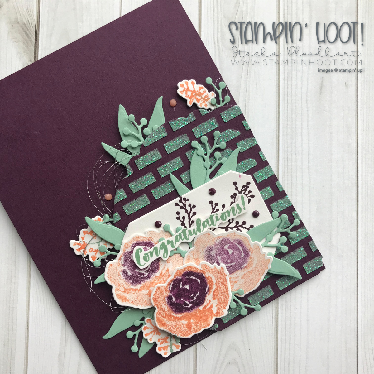 First Frost Bundle by Stampin' Up! Handmade Congratulations Card by Stesha Bloodhart, Stampin' Hoot! for #gdp157 Color Challenge. #steshabloodhart #stampinhoot