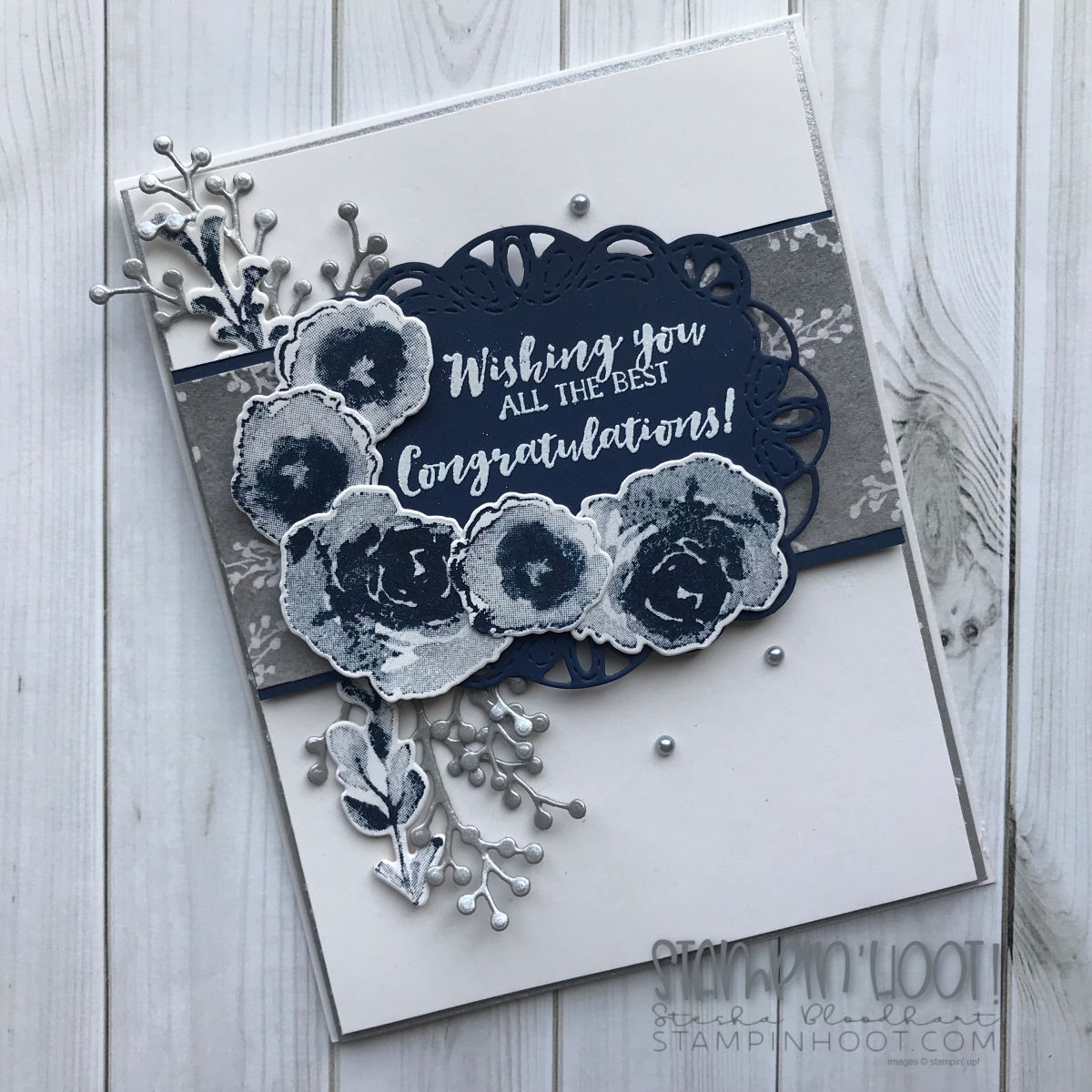 First Frost Bundle by Stampin' Up! Wedding Card created by Stesha Bloodhart, Stampin' Hoot! #steshabloodhart #stampinhoot
