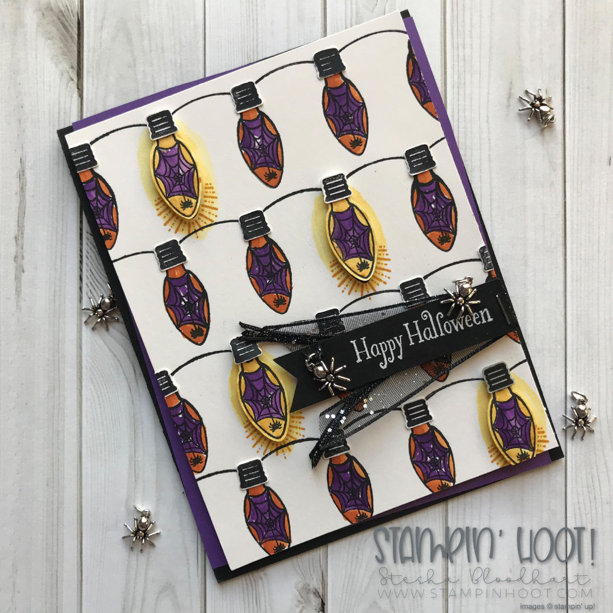 Making Every Day Bright & Christmas Bulb Builder Punch by Stampin' Up! Create Your Own Background Challenge TGIFC179. Card created by Stesha Bloodhart, Stampin' Hoot! #steshabloodhart #stampinhoot