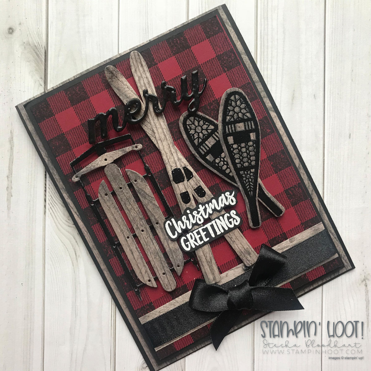 Buffalo Check Stamp Set & Alpine Adventures Bundle by Stampin' Up! Northwoods Christmas Card created by Stesha Bloodhart. Stampin' Hoot! #steshabloodhart #stampinhoot